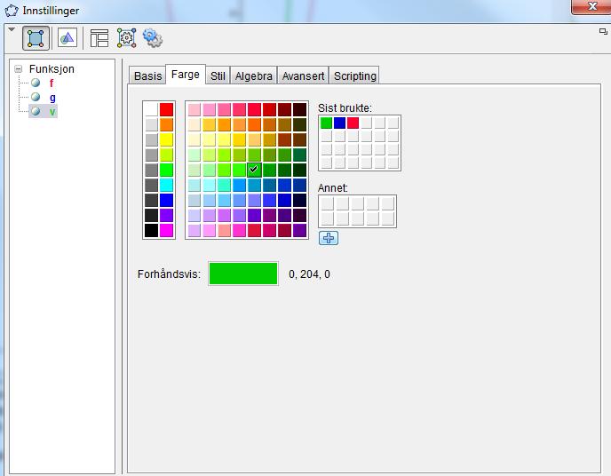 Valg av farge til grafer i GeoGebra
