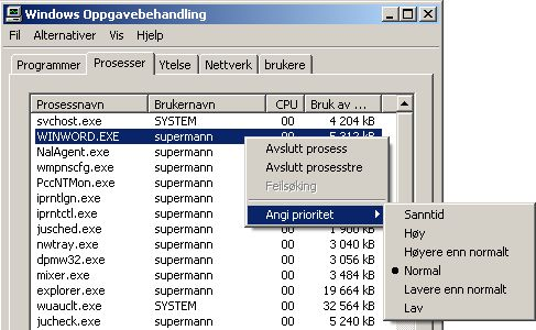 Windows prosessprioritet